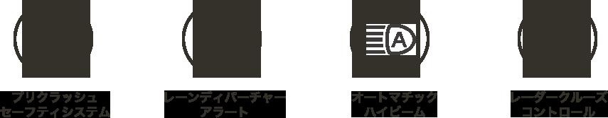 プリクラッシュ セーフティシステム/レーンディパーチャーアラート/オートマチックハイビーム/レーダークルーズコントロール