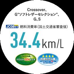 """Crossover、G """"ソフトレザーセレクション""""、G、S JC08モード燃料消費率(国土交通省審査値) 34.4km/L"""