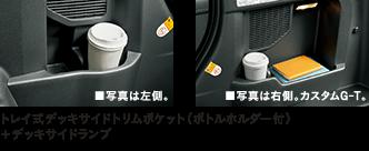 トレイ式デッキサイドトリムポケット(ボトルホルダー付)+デッキサイドランプ