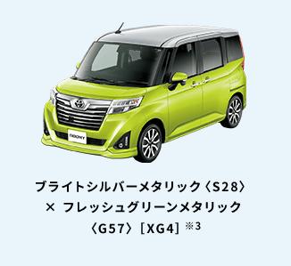 ブライトシルバーメタリック〈S28〉× フレッシュグリーンメタリック〈G57〉[XG4]※3